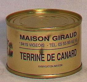 Terrine de canard  au foie gras  ( bte 130g )