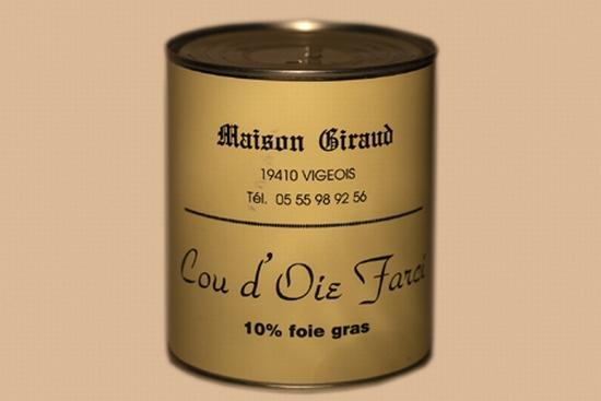 Cou d'oie farcie de 10% de foie gras ( bte 450g )